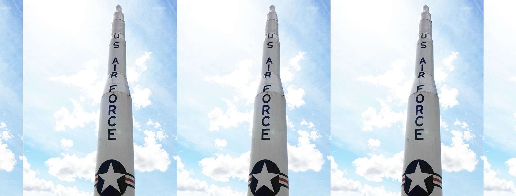 A Minuteman II ICBM replica stands at the front gate on Minot Air Force Base, North Dakota, June 10, 2019. Minot Air Force Base hold two thirds of the American nuclear forces. US Air Force photo by Senior Airman Dillon J. Audit