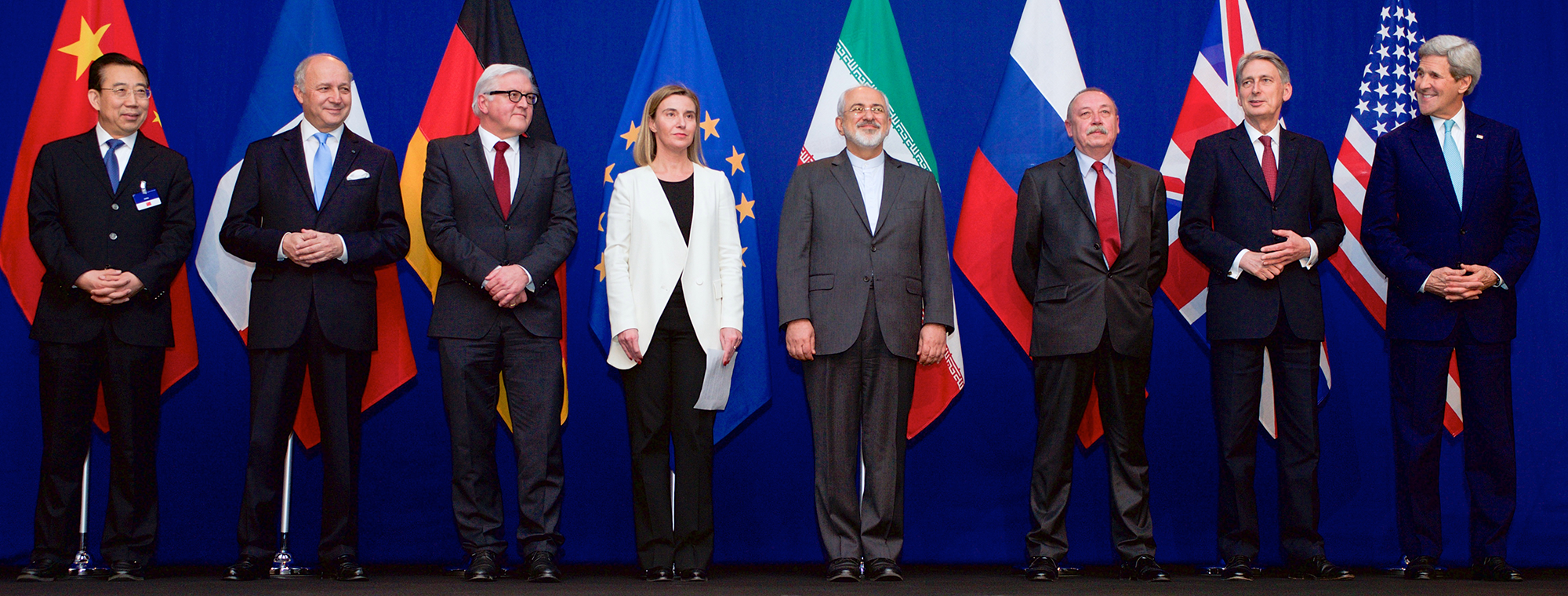 Secretary Kerry Poses for a Photo With P5+1 Leaders and Iranian Foreign Minister Zarif Following Negotiations About Future of Iran's Nuclear Program