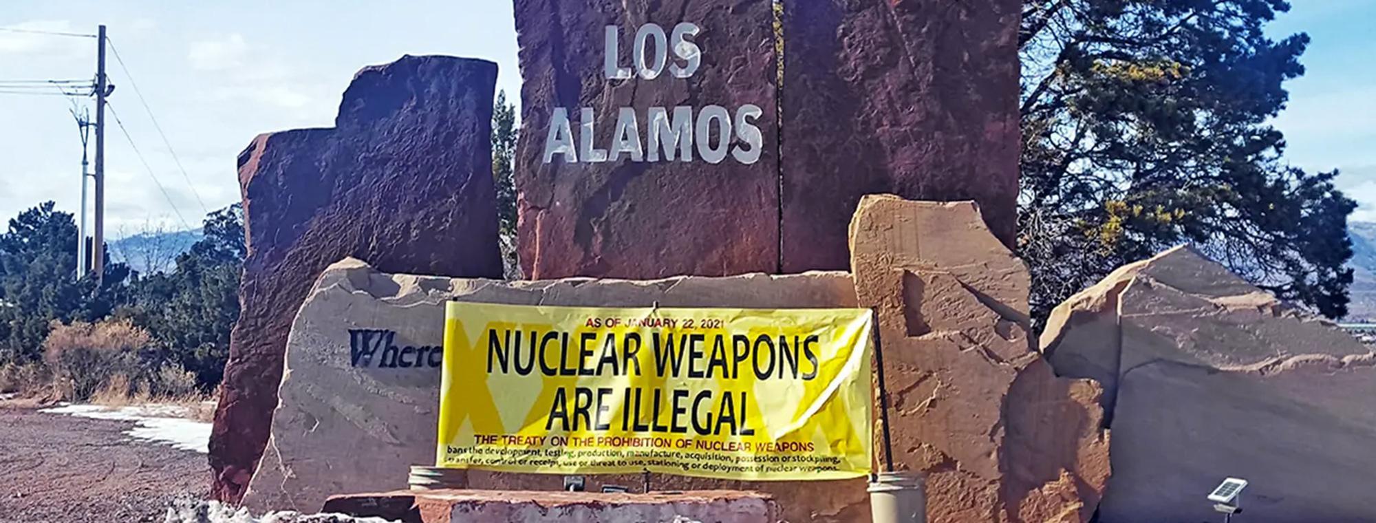 An activist's sign an Los Alamos